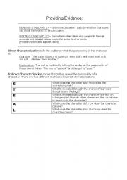 English worksheets: Indirect Characterization in Forged by Fire ...