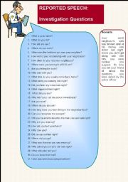 English Worksheets: Reported Speech- Investigation questions