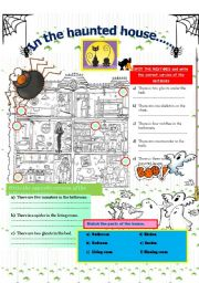 English Worksheet: In the haunted house...... There is /are. Parts of the house + Find a secret message.
