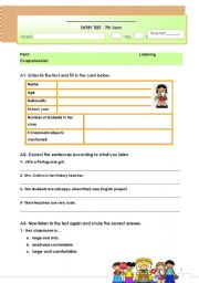 English Worksheets: Listening and Reading comprehension Test