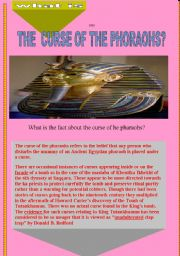 English Worksheets: the curse of the phoraohs-comprehension passage