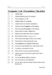 English worksheets: Computer Lab Orientation Checklist