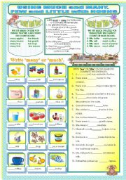English Worksheet: USAGE OF MANY OR MUCH AND FEW OR LITTLE