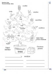 english worksheet christmas tree coloring page
