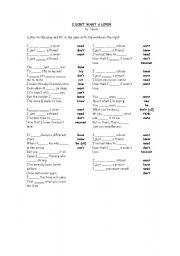 English worksheet: I DON´T WANT A LOVER. PRESENT SIMPLE