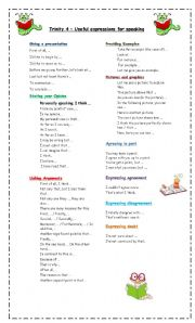 English Worksheets: Useful expressions for speaking - Trinity 4
