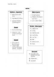 English worksheet: Role play - Menu