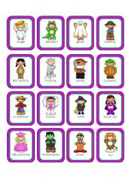 English Worksheets: Halloween Costumes Memory Cards (20 cards in all)