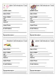 English Worksheets: STUDENT INFORMATION CARD
