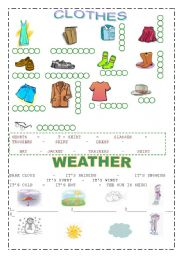 English teaching worksheets: Weather and clothes