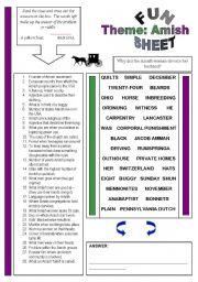 English Worksheet: Fun Sheet Theme: Amish
