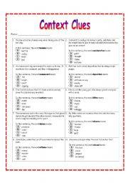 Context Clues Worksheet 2 - ESL worksheet by dreidteacher