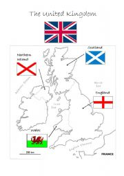 English Worksheet: Uk: map and flags