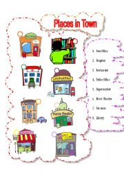 English Worksheet: Places in Town I