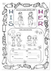 English Worksheets: Body description using HIS/HER (eyes and hair)