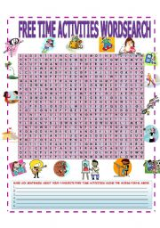 English Worksheets: FREE TIME ACTIVITIES WORDSEARCH