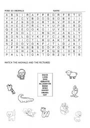 English Worksheets: find animals