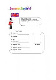 English worksheet: Summer English
