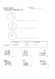 English worksheet: hours and numbers