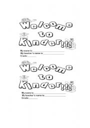 English Worksheet: welcome to the kinder