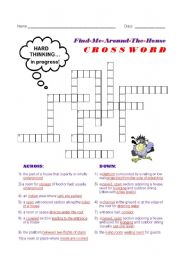 English Worksheet: Find-Me-Around-The-House Crossword