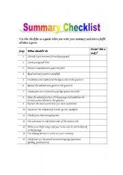 English Worksheets: Summary Checklist