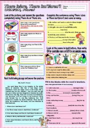 English Worksheet: There is/are, There isn�t/aren�t, UCN/CN and plural (Mixed tenses)