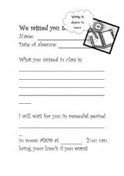 English worksheet: we missed you today