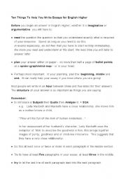 English Worksheets: Study tips for english Higher