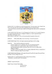 English Worksheet: Shrek mini play