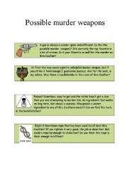 English Worksheets:  the possible murder weapons and suspects