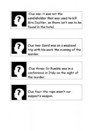 English Worksheets: clues to murderer and weapon