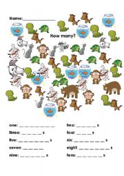 English Worksheets: How many animals?