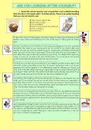 READING COMPREHENSION: HEALTHY HABITS. 3PAGES