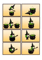 English Worksheets: Where is the Witch? Preposition Flashcards
