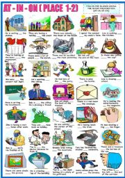 English Worksheet: AT - IN - ON - PREPOSITIONS OF PLACE-EXERCISES (1-2) (B&W VERSION INCLUDED)