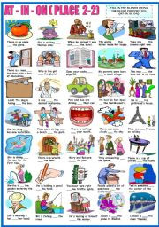 English Worksheet: AT - IN - ON - PREPOSITIONS OF PLACE -EXERCISES (B&W VERSION INCLUDED)