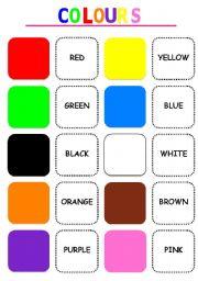 English Worksheet: Colours memory game