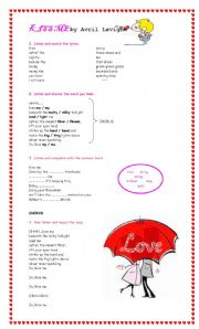 English Worksheets: Song. Kiss me by Avril Lavigne