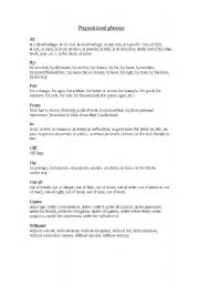 English worksheet: Prepositional phrases