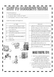 English Worksheet: HOW TO CONSERVE WATER