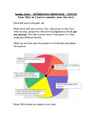 English Worksheet: Reading Spinner - Focus on stories, what is important?