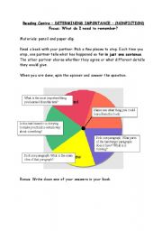English Worksheet: Reading Spinner - nonfiction, determing importance