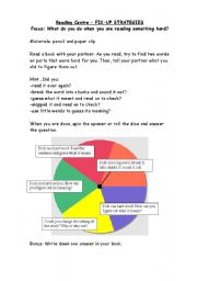 English Worksheet: Reading Spinner - what do you do when you�re stuck???