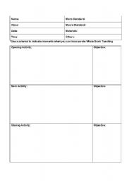 English Worksheets Lesson Plan Template - Easy lesson plan template