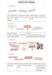 English Worksheet: Signs and warnings