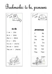 English Worksheets: Simon�s Cat  Bookmarks (to be, pronouns)