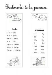 English Worksheet: Simon�s Cat  Bookmarks (to be, pronouns)