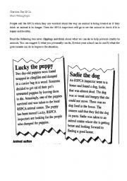 English Worksheets: Prevention Cruelty to Animals