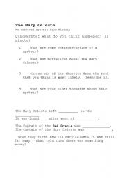 English Worksheets: The Mary Celeste questions